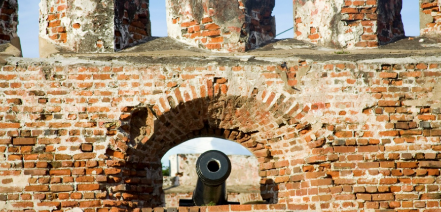Cannons at Port Royal fort.